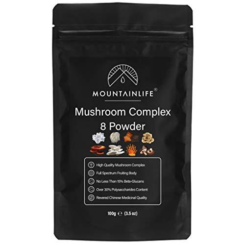 Mountainlife Mushroom Complex 8 Powder 100g, 30% Polysaccharides 15% Beta Glucans, Chaga, Reishi, Lions Mane, Cordyceps, Maitake, Shiitake, Tremella, Osyster, Organic High Strength Mushrooms