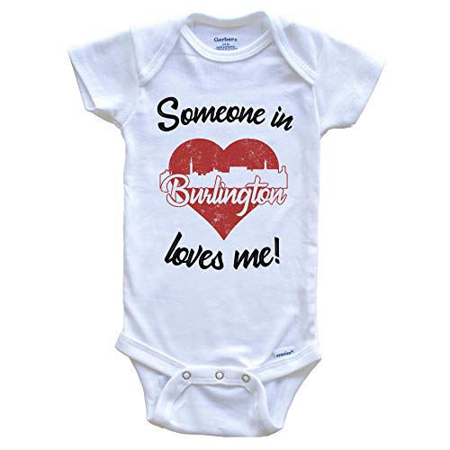 Someone in Burlington Loves Me Red Heart Skyline Baby Onesie, 3-6 Months White