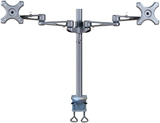 """Newstar FPMA-D935D Full Motion Dual Desk Mount (clamp) for Two 10-27"""" Monitor Screens, Height Adjustable - Silver"""