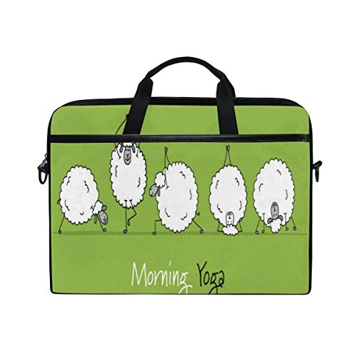 FOURFOOL 15-15.6 inch Laptop Bag,Funny Sheep Doing Yoga Animals Sports Green,New Canvas Print Pattern Briefcase Laptop Shoulder Messenger Handbag Case Sleeve