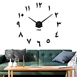 Vangold Large DIY Wall Clock, 2-Year Warranty Modern 3D Wall Clock with Arabic Numerals for Home Office Decorations Gift (Black)