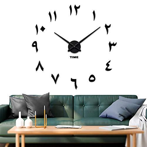 Vangold Arabische Moderne Mute DIY große Wanduhr 3D Aufkleber Home Office Decor Geschenk (Schwarz)
