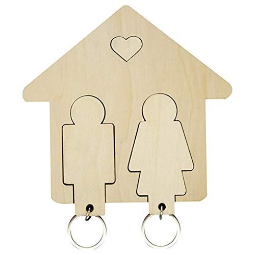 KANUBI Juego de 2 llaveros de madera con gancho magnético a juego, el mejor regalo para parejas de aniversario