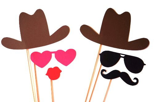 The Cowboy and Cowgirl Collection - Photo Booth Props - Set of 6 Photobooth Props
