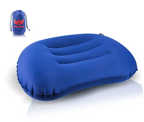 Reisekissen/Nackenkissen, aufblasbar, kleines Packmaß, von polaar, ergonomisch geformt, stützt Kopf, Wirbelsäule und Rücken, für erholsamen und bequemen Schlaf
