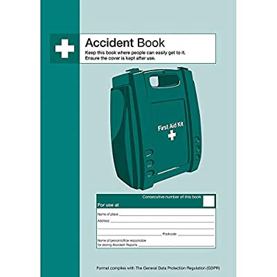 Safety First Aid Group A4 Accident Reporting Book - Data Protection Compliant (53 Forms) by Safety First-Aid