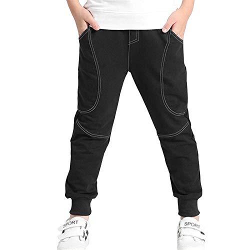 Ugitopi Pantalones de Jogging de Algodón para Niños Talla 4-12 años (Black,160)