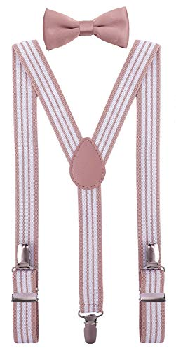 PZLE Baby Suspenders and Bow Tie Set Adjustable Elastic 24 Inches Pink White Stripe