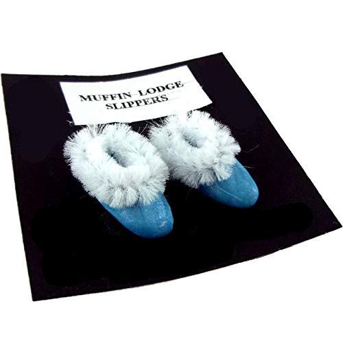 Melody Jane Maison de poupées Miniature fabriquéà la Main Salle de Bain Chambre à Coucher accessorry Bleu Femmes Pantoufles