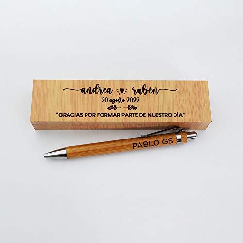 Bolígrafo personalizado junto con caja grabada de madera para testigos de boda o padrinos