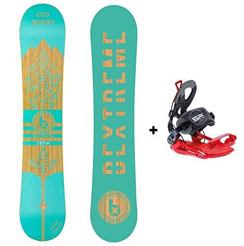 Bextreme Pack Tabla Snowboard Freestyle Diamond 2019 con Fijaciones SP Private. Eco-Board de Bambu, Haya y álamo. Medida Tabla 160cm. Snow para Hombre y Mujer