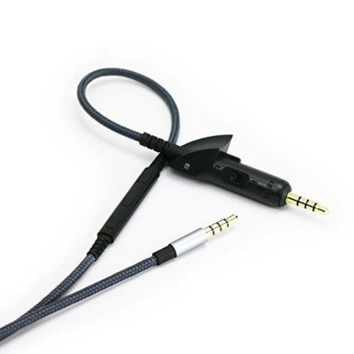 Cable de audio de repuesto con micrófono en línea, control de volumen...