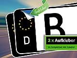 rednow 2 Stück Nummernschild Kennzeichen Aufkleber EU Feld in Schwarz überkleben
