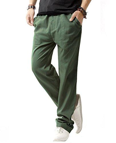 Men's Linen Casual Lightweight Drawstrintg Elastic Waist Summer Beach Pants 3