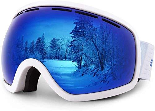 XUWLM Skibrille Skibrille mit UV400-Schutz, Skibrille mit doppelter sphärischer Linse mit Antibeschlag, Winddicht für Männer, Frauen, helmkompatibel, gefälschtes Blau