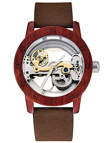Alienwork Reloj Automático Hombre Rojo Pulsera de Cuero Marrón Plateado Esqueleto Madera Natural