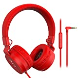 PuroBasic Volume Limiting Wired Headphones for Kids, Boys, Girls 2+ Foldable & Adjustable Headband w/Microphone, Compatible with iPad, iPhone, Android, PC & Mac – by Puro Sound Labs, Red