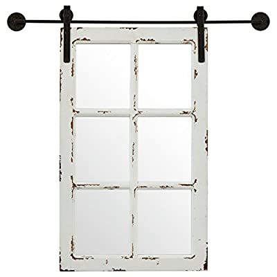 Amazon Brand – Stone & Beam Vintage-Look Rectangular Frame White Window Wood Mirror, 32.75 Inch Height, White