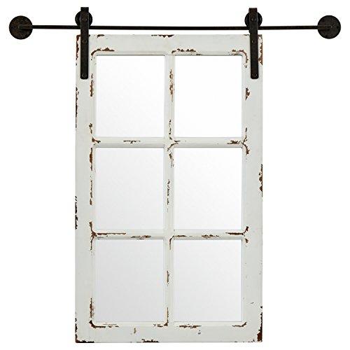 Stone & Beam Vintage-Look Rectangular Frame White Window Wood Mirror, 36.25 Inch...