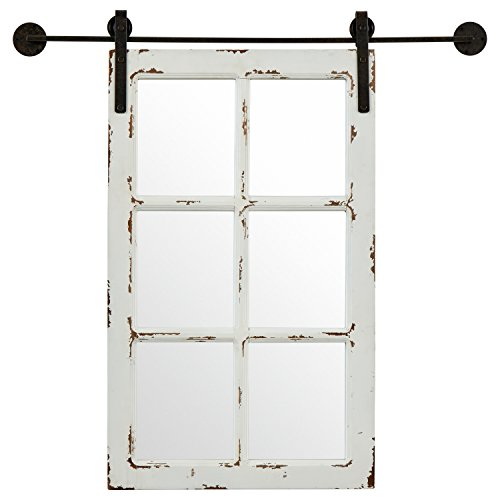 Amazon Brand – Stone & Beam Vintage-Look Rectangular Frame White Window Wood Mirror, 32.75 Inch Height, White
