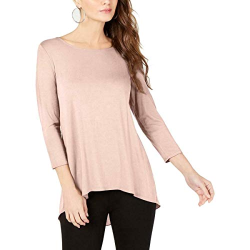 Alfani Womens High-Low Mixed Media Pullover Top Pink L