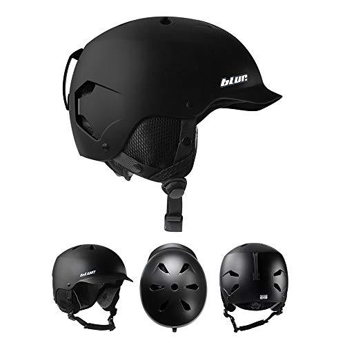 Casco de esquí para hombre y mujer, talla XXL, circunferencia de cabeza grande, color negro - L