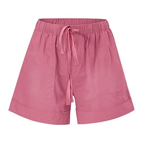 Yowablo Shorts Hosen Frauen Bequeme Kordelzug Splice Casual Elastic Waist Pocketed Loose (4XL,Rosa)