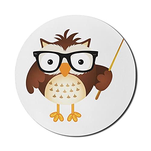Lehrer Mauspad für Computer, Cartoon Animal Print Erzieher Eule mit Brille und Zeiger, Runde rutschfeste dicke Gummi Modern Gaming Mousepad, 8 'Runde, Schokolade Eierschale