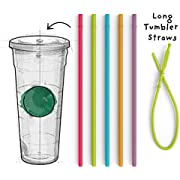 Long Silicone Straws for Tumbler - Slender Silicon Rubber Reusable Drinking Straws for Simple Modern, Starbucks, Yeti, rTic, Acrylic 24 30 40 oz Tumbler Cups - Flexible BPA Free.