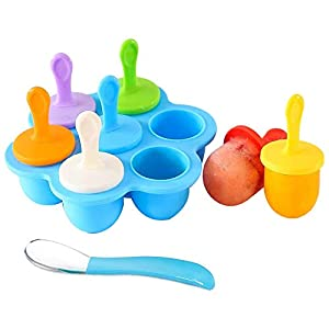 LOTA シリコーンアイスキャンデー型、アイス型メーカー、自家製離乳食の保存容器、アイスクリーム、DIY型(ブルー)