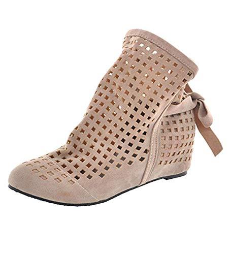 KIKIVA Damen Cut Out Ankle Boots Flache Sommer Stiefeletten mit Schnürung Geschlossene...