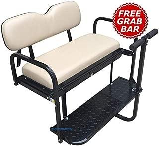 Yamaha Drive (G29) Golf Cart Rear Seat Kit - Grey/Sandstone (Matches Factory Front Seats) - FLip Seat w/Cargo Bed & Free Grab Bar