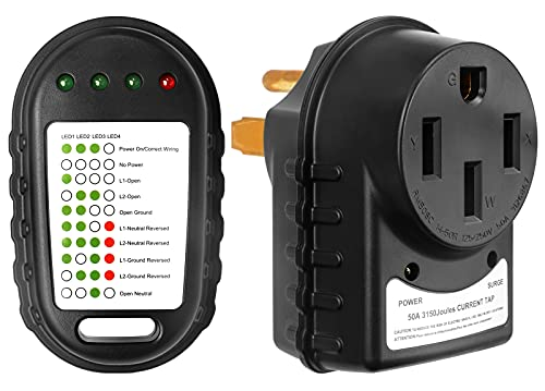 EXCELFU RV Surge Protector 50 Amp and Circuit Analyzer, ETL Listed with LED Indicator Light, 50 amp Male to 50 amp Female Adapter for RV Camper Trailer (45000A max Spike, 3150 Joules)