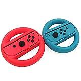 keesin volante joy-con, accessorio ruota per dock remota compatibile con controller nintendo switch, set di 2(rosso-blu)