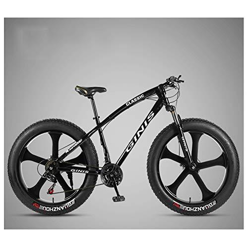 NENGGE 26 Inch Mountain Bicycle, High-Carbon Steel Frame Fat Tire Mountain Trail Bike, Men's Womens Hardtail Mountain Bike with Dual Disc Brake,Black,30 Speed 5 Spoke
