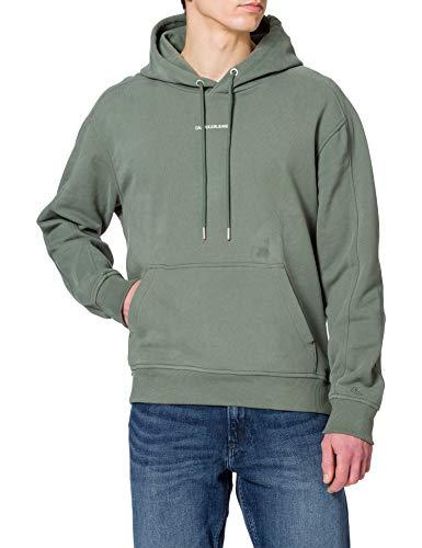 Calvin Klein Jeans Hoodie Sudadera Micro Branding, Verde Pato, XL para Hombre