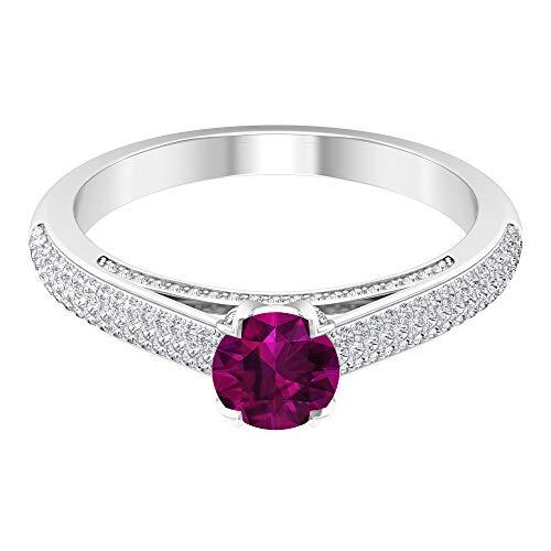 Rosec Jewels - Solitario de rodolita de 1,25 quilates con diamantes, anillo de compromiso para mujer (5,5 mm, rodolita de corte redondo), 14K Oro blanco, Size:EU 50