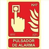 Señal pulsador alarma homologada PVC 21x30cm Rojo