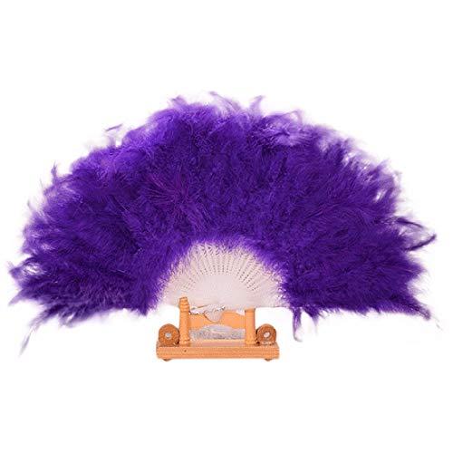 YWLINK Abanicos,28 Abanicos De Plumas Boda Showgirl Danza Elegante Pluma Grande Plegable Mano Fan Decor Decal Fiesta De Bodas Manualidades Memorial Nacional De Viento(Púrpura)