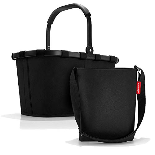 Set aus reisenthel Carrybag BK und reisenthel Shoulderbag HY, Einkaufskorb mit Kleiner Umhängetasche, Frame Black + Black