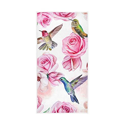 Moyyo Roses Magnolia - Toalla de Mano de poliéster, diseño de colibrí con Flores, Suave, Ligera, de una Sola Cara, para Deporte, Gimnasio, baño, para Adultos y niños, 76,2 x 38,1 cm
