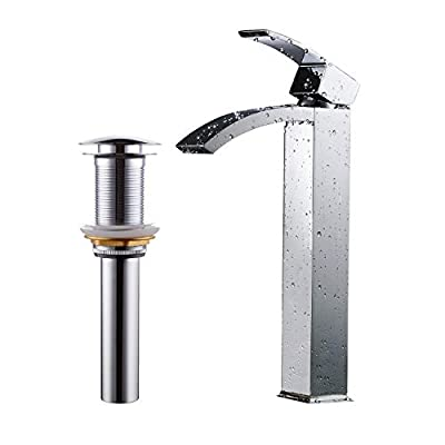 Greenspring Bathroom Vessel Sink Faucet Chrome Tall Spout Brass Commercial Basin Faucet Include Pop Up Drain Without Overflow
