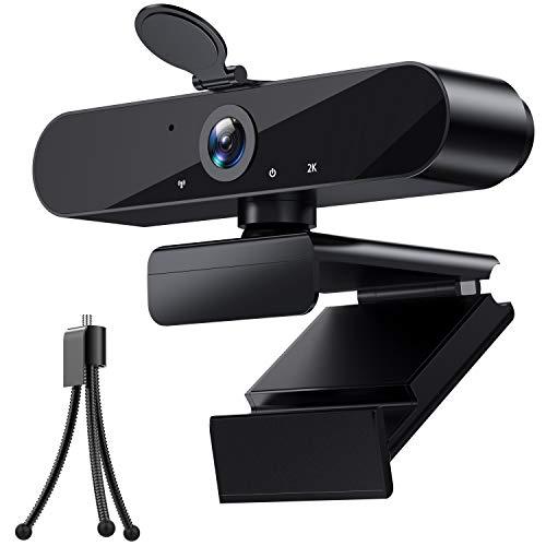 Webcam 2K HD Cámara de transmisión con micrófono USB PC PC PC Cámara web con corrección de luz/enfoque automático/trípode para zoom/Skype/Facetime/equipos, PC Mac Laptop Desktop
