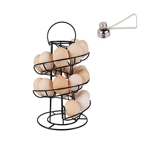 Modern Spiraling Design Egg Skelter,Egg Dispenser Rack,Egg Storage Holder for Raw/Soft Hard Boiled Egg,Black(With Stainless Steel Egg Opener)
