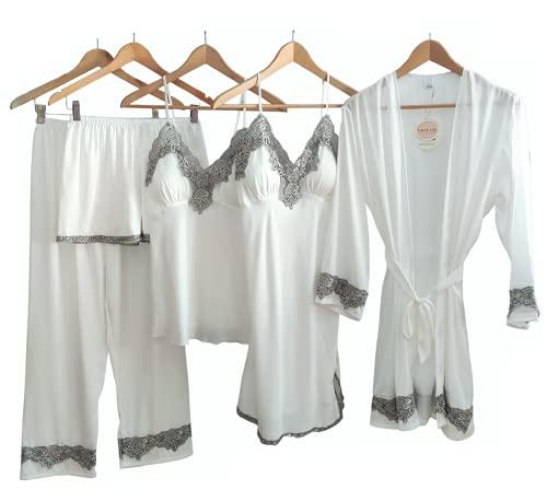 camicia donna in seta Laura Lily - Pigiama da Donna in Raso setoso