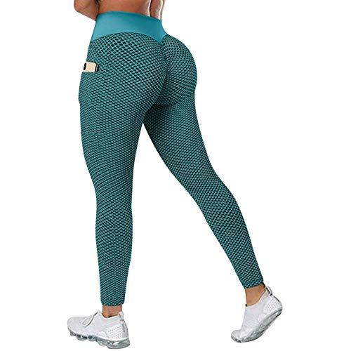 Pantalones de yoga anticelulíticos para mujer, leggings de cintura alta, pantalones de deporte, opacos, para entrenamiento, push up, ropa de calle con control de barriga y bolsillos verde XXL