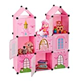 Relaxdays Estantería Modular Infantil, Castillo de Princesas, Plástico, Armario con Puertas, 128 x 110 x 37 cm, Rosa, PP
