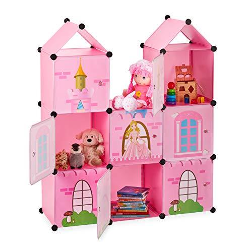 Relaxdays Steckregal Kinderzimmer, Prinzessinnenschloss, Kunststoff, DIY Schrank mit Türen, HBT: 128 x 110 x 37 cm, rosa