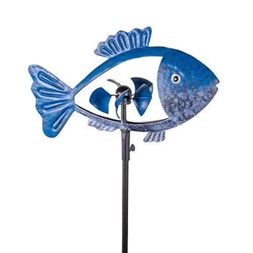 CIM Metall Windrad - Dunkel Blauer Fisch - Gesamthöhe mit Spieß 140cm - Fisch Länge: 30cm x Windrad Ø 10cm - attraktiver Gartenstecker - Gartendeko