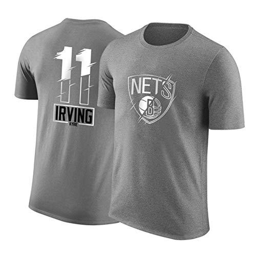 PQMW Irving Jersey Camiseta de Manga Corta, Nets # 11 New Men's Basketball Jerseys, Edición de la Ciudad Unisex Outdoor Cotton Fitness Training Chalt Top Grey-XL